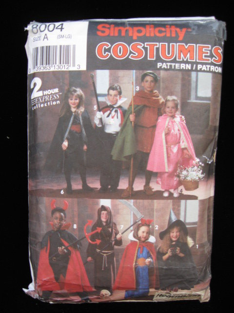 Simplicity 8004 Child's Witch Dracula Robin Hood Princess Devil Grim Reaper Snow White Halloween Costume Sewing Pattern