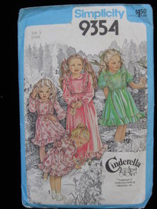 Simplicity 9354 Child's Dress Cinderella Line 1970's  Sewing Pattern
