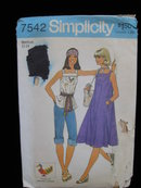 Simplicity 7542 Misses' Hippie Dress or Top  With Embroidery Transfer Sewing Pattern 1970's
