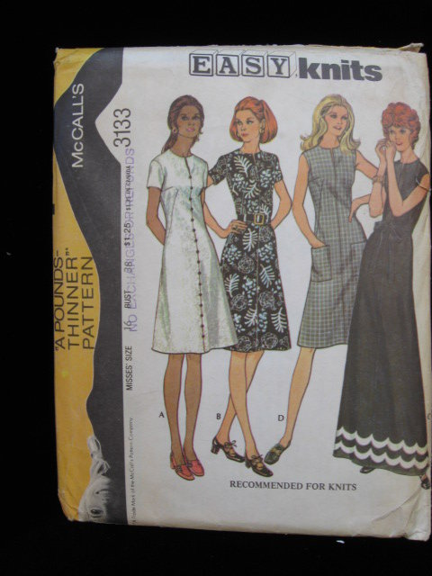 McCall's 3133 Misses' Dress for Knits Pounds Thinner Sewing Pattern  1970's