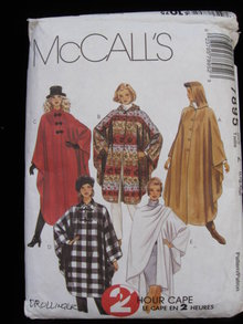 McCall's Misses'  Cape 2 Hour Cape Sewing Pattern Size Large & Extra Large