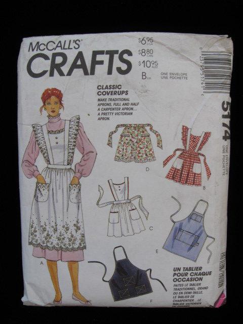 McCall's  Crafts Apron Sewing Pattern Bib Apron & Half Aprons