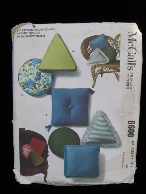 McCall's  Six Zippered Pillow Covers Vintage Sewing Pattern