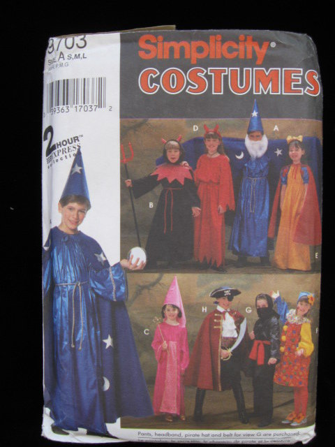 Simplicity 9703 Child's Witch Devil Wizard Snow White Princess Pirate Ninja Clown  Halloween Costume Sewing Pattern