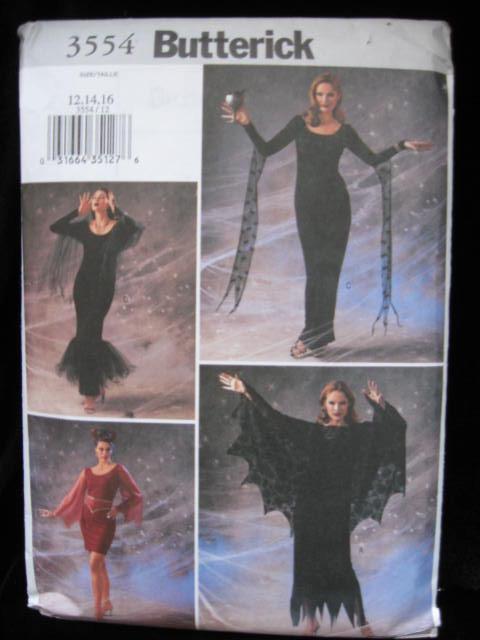Butterick 3554 Misses'  Elvira Sexy Vampire Halloween Costume Sewing Pattern Size 12, 14,16