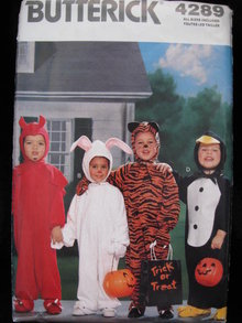 Butterick 4289 Toddler's Halloween Devil Rabbit Tiger Penguin Costume Sewing Pattern Size 1 2 3 4