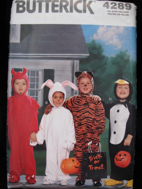 Butterick 4289 Toddler's Halloween Devil Rabbit Tiger Penguin Costume Sewing Pattern Size 1 2 3 4