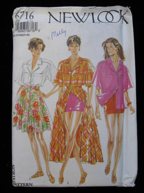 Sexy Simplicity New Look 6716  Summer  Skirt Shirt Shorts  Sewing Pattern Size 6 8 10 12 14 16   70's or 80's