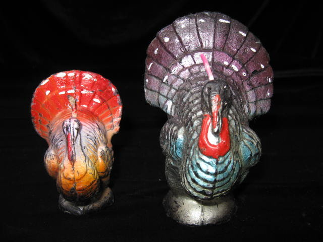 2 Vintage Gurley Fall & Thanksgiving Turkey Candles