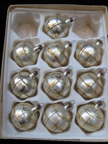 10 Kurt Adler  Santa's World  Gold & Silver Czechoslovakia Glass Christmas Tree Ornaments  In Original Box