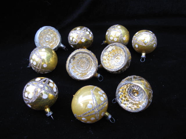 10 Kurt Adler  Santa's World  Gold  Czechoslovakia Some Triple Indent Glass Christmas Tree Ornaments  In Original Box