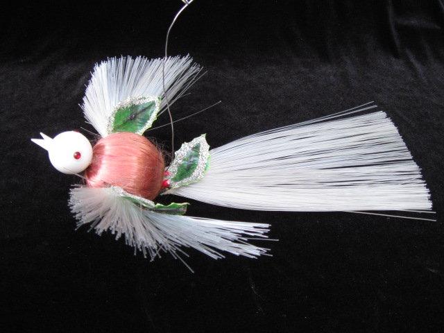 Vintage Christmas Large Spun Satin Plastic Bird Watcher