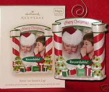Hallmark 2008 Sitting Sittin' On Santa's Lap Recordable Message Photo Holder Christmas Tree Ornament