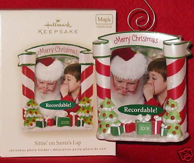 Hallmark 2008 Sitting Sittin' On Santa's Lap Recordable Message Photo Holder Christmas Tree Ornament