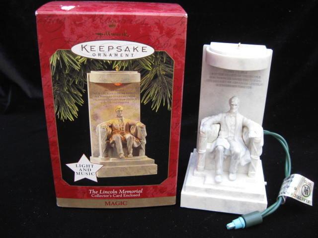 Hallmark 1997 The Lincoln Memorial Magic Light & Sound Christmas Tree Ornament