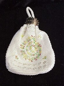 Vintage White Beaded Gatetop Purse Unique Design