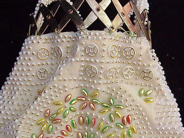 Vintage White Beaded Gatetop Purse Unique Design