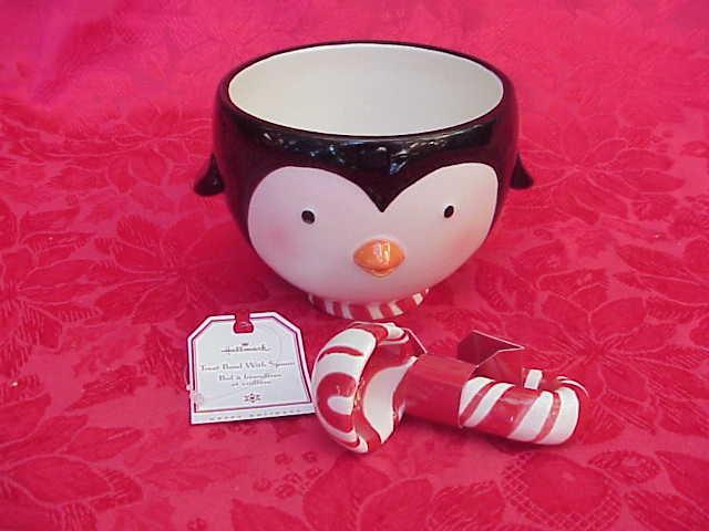 Hallmark 2007 Christmas Penguin Treat Dip Ice Cream Ceramic Bowl & Candy Cane Spoon