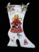Vintage Felt Christmas Stocking with Angel Retro Christmas