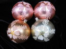 4 Large Vintage West Germany Glass Handblown Floral Meca Christmas Tree Ornaments