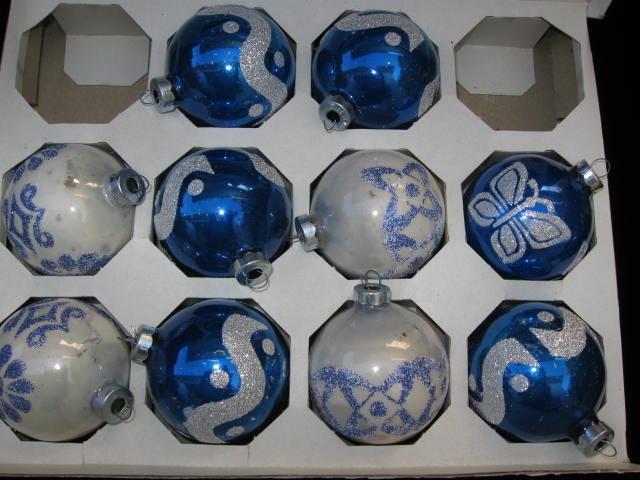 10 Shiny Brite Glass  Stencil Christmas Tree Ornaments In Original Box