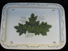 Vintage Serving Tray Green Floral With Folding Legs
