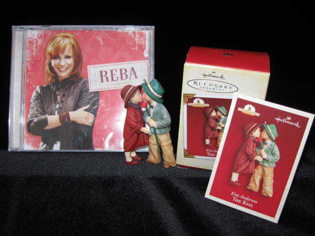 Hallmark  2005 The Kiss Ornament & 2008 Reba McEntire Love Revival Songs Valentine's Day  2 Hallmark Items See Both Pictures