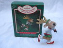 Hallmark 1986 Reindeer Champs Dasher 1st In Reindeer Champs Series Christmas Tree Ornament  Jogger Runner With Price Tag