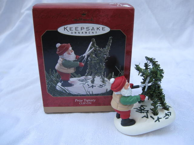 Hallmark 1997  Prize Topiary Santa & Deer Shrub Christmas Tree Garden Gardening Ornament