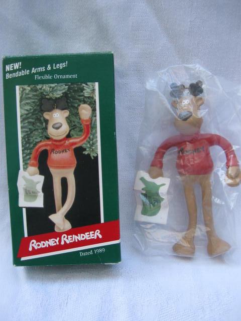 Hallmark 1989 Rodney Reindeer Bendable Arms & Legs Christmas Tree Ornament