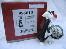 Goebel Looney Tunes 1999 Christmas Putting  Sylvester The Cat Golf Christmas Tree Ornament
