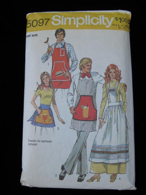 Simplicity # 5097 Men's & Misses' Apron Sewing Pattern With Transfers One Size