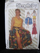Simplicity 7384 Top, Skirt & Shorts Sewing Pattern 1980's Size 10, 12, 14