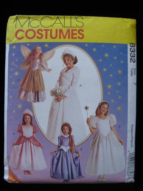 McCall's 8332 Children's & Girls' Princess Bride Fairy Halloween Costume Sewing Pattern Size 7 Talle