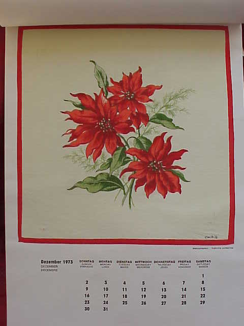 8 Vintage Hankys Hankies Handkerchiefs With 1973 Calendar