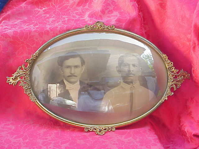 Vintage Convex Glass Portrait Picture With Metal Frame