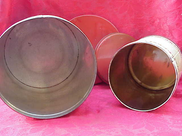 2 Mid Century Man & Woman Courting Large Tin Canisters