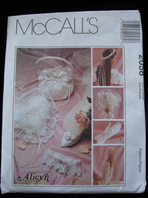McCall's 2058 Victorian Bridal Wedding Accessories Sewing Pattern Garter Pillow + More