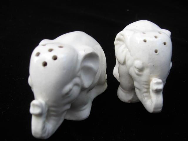 Vintage White Elephant Salt & Pepper Shakers
