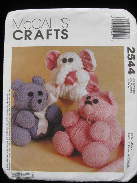 McCall's Crafts 2544 Chenille Cat Elephant & Bear Sewing Pattern