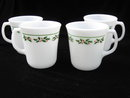 Set of 4 Corning Ware Corningware Pyrex  Christmas Holly Days Milk Glass Mugs  - 3 Sets Available