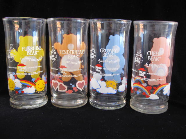 Vintage Set Of 4 Care Bear Glasses  Tumblers