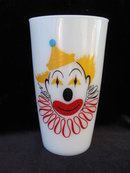 Vintage Hazel Atlas Milk Glass Clown Tumbler