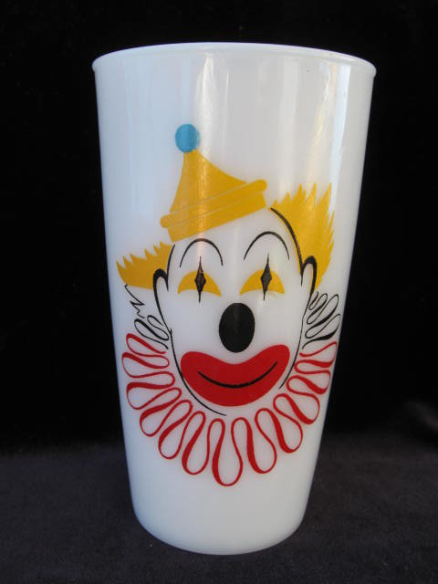Vintage Hazel Atlas Milk Glass Clown Tumbler
