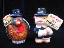 Comical Pig & Turkey Thanksgiving Shakers