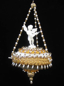 Gold & White Beaded Jeweled Vintage Cherub Ornament