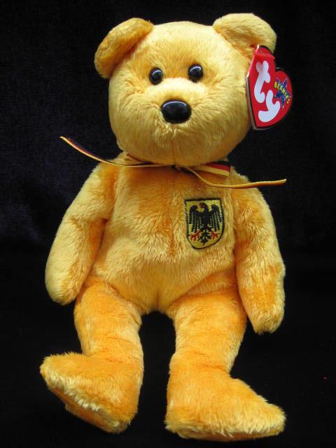Ty PRINZ VON GOLD German Exclusive Ty Beanie Baby Bear MWMT