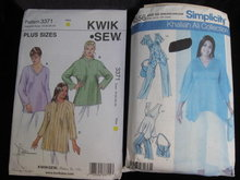 Lot of  2 Sewing Patterns Women's Simplicity 4556 & Kwik Sew 3371 Pants Tunic & Bag Size 26W - 32W 1X - 4X
