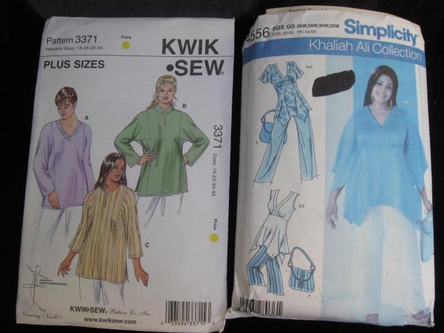 Lot of  2 Sewing Patterns Women's Simplicity 4556 & Kwik Sew 3371 Pants Tunic & Bag Size 26W - 32W 1X - 4X