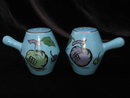 Vintage Blue  Fruit Art Deco Salt & Pepper Shakers